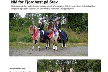 Nyhetsbrev fra Norges Fjordhestlag Juli – 2015